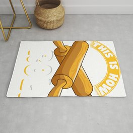 Cute & Funny This Is How I Roll Rolling Pin Baker Pun Rug