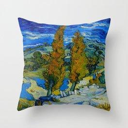 Vincent Van Gogh Beautiful Night Oil Painting Poplars at Saint-Rémy, October 1889 Landscape Throw Pillow