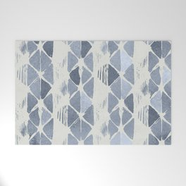 Simply Braided Chevron Indigo Blue on Lunar Gray Welcome Mat