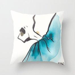 Modern Ballet Dancer in Turquoise Throw Pillow