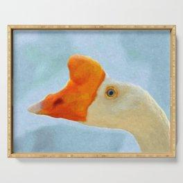 Blue eyed goose portrait Serving Tray