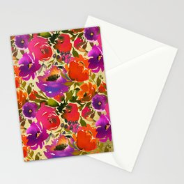 Vibrant Purple and Orange Blossom on Gold  Stationery Cards