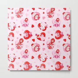 Cute Pink Red Valentine's Day Animals Hearts Metal Print
