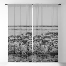 Black and White Pacific Ocean Waves Blackout Curtain