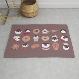 Cookie & cream & penguin - brown  pattern Rug