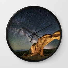 Broken Arch With The Rising Milky Way Wall Clock