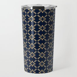 INSIGNIA navy gold grey geometric repeat pattern Travel Mug