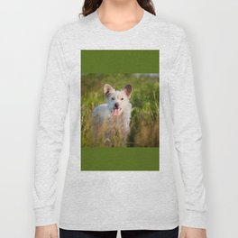 Single white stray tyke dog at the meadow Long Sleeve T-shirt