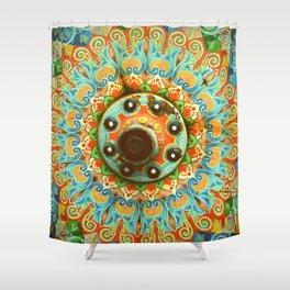 Rainbow Painted Cart Wheel Mandala Shower Curtain