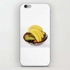 Fruit in a Wooden Bowl, Banana, orange, Pear, Plum iPhone Skin