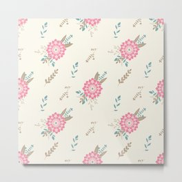Pink big flower and floral composition seamless pattern Metal Print
