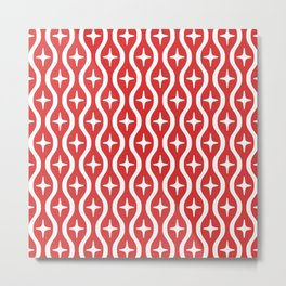 Mid century Modern Bulbous Star Pattern Red Metal Print