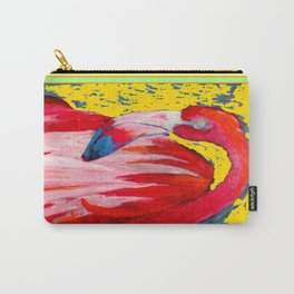 Modern Yellow Art  Flamingo Preening Design Carry-All Pouch