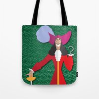 captain hook Tote Bags featuring Captain Hook by AmadeuxArt