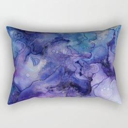 Abstract Watercolor, Ink Prints, Indigo, Blue, Purple Rectangular Pillow
