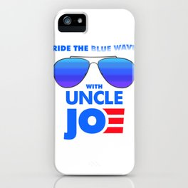 Womens Ride the Blue Wave with Uncle Joe Biden for President 2020 V-Neck Apparel iPhone Case