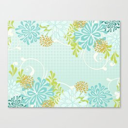 Bold Graphic Mod Mum Modern Chrysanthemum Floral Flower Aqua Blue Canvas Print