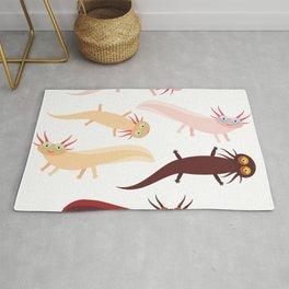 Cute orange pink brown Axolotl Cartoon character (Mexican salamander, Ambystoma mexicanum) Rug