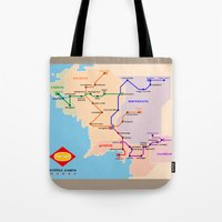 middle earth Tote Bags featuring Middle-Earth metro map by tuditees