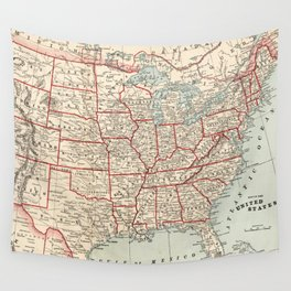 Vintage Map of The United States (1893) Wall Tapestry