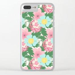 Modern pink teal green botanical tropical floral illustration Clear iPhone Case