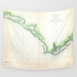 Vintage Florida Panhandle Coastal Map (1852) Wall Tapestry