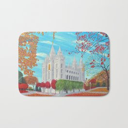 Salt Lake City, Utah LDS Temple in Autumn Bath Mat