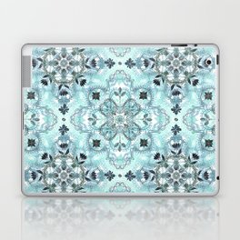 Soft Mint & Teal Detailed Lace Doodle Pattern Laptop & iPad Skin