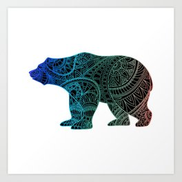 Colorful Rainbow Bear - III Art Print