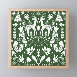 Holiday Folk art in green and white Framed Mini Art Print