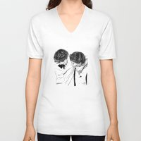 larry V-neck T-shirts featuring Larry hugging by Drawpassionn