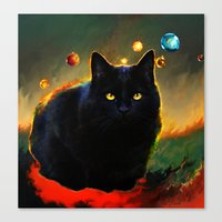 black cat Canvas Prints featuring black cat by ururuty