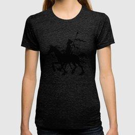 Don Quixote of La Mancha and Rocinante | Don Quixote Silhouette | Black and White | T-shirt