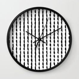 Vertical Black Ink Dash Lines Wall Clock