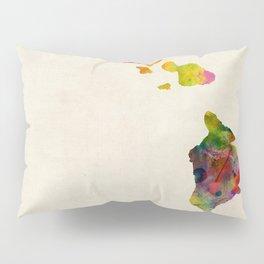 Hawaii Watercolor Map Pillow Sham