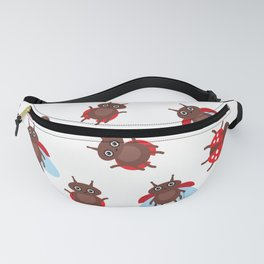 Funny insects ladybugs pattern on white background Fanny Pack