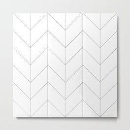 Herringbone Chevron (Thin Black On White) Metal Print