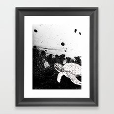 Sea Foam Sea Turtle (B/W) Framed Art Print