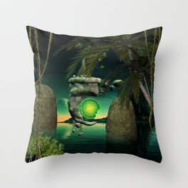 The flying rock with clock Throw Pillow
