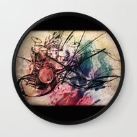drum Wall Clocks featuring Drum by Joanne Chen