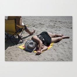 Brighton Beach Sunbather Canvas Print