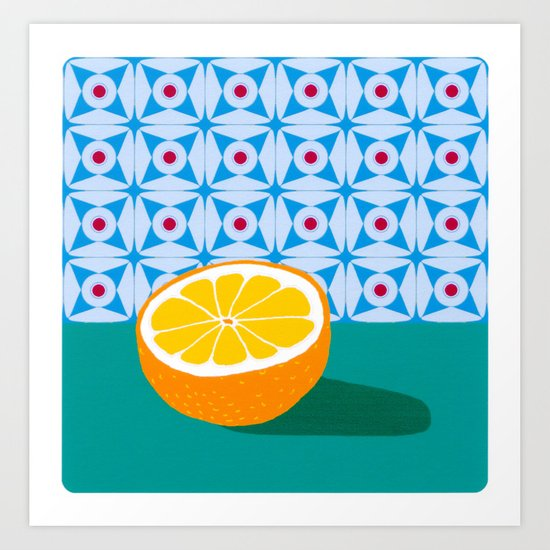 Fruit with Wallpaper (orange) Art Print