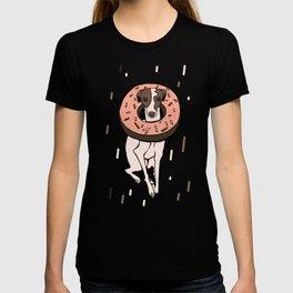 Peach Choco Iggy Dog wearing a Glazed Donut with Sprinkles - Doggy Doughnut - Kawaii Dessert Whippet T-shirt