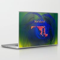 maryland Laptop & iPad Skins featuring Maryland Map by Roger Wedegis