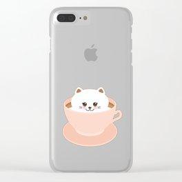 Cute Kawai cat in pink cup Clear iPhone Case