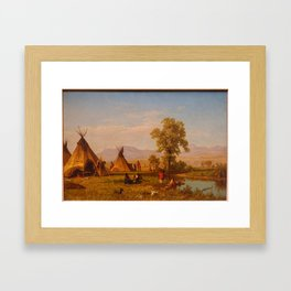 Albert Bierstadt - Sioux Village near Fort Laramie (1859) Framed Art Print