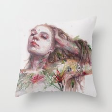 Leaves on Skin Throw Pillow
