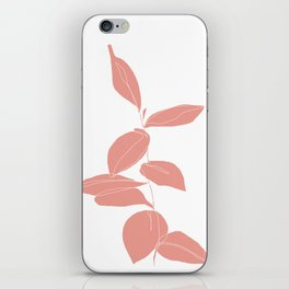 One line plant drawing - Berry Pink iPhone Skin