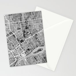 Detroit Michigan City Map Stationery Cards