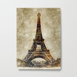 Eiffel Tower Vintage Watercolor Art Metal Print